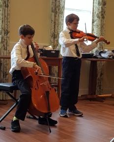 Isaac,violin and Zeke,cello