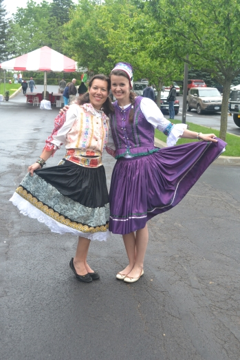 Two Beautiful Zuzanas from Slovakia dressed in National Costumes.